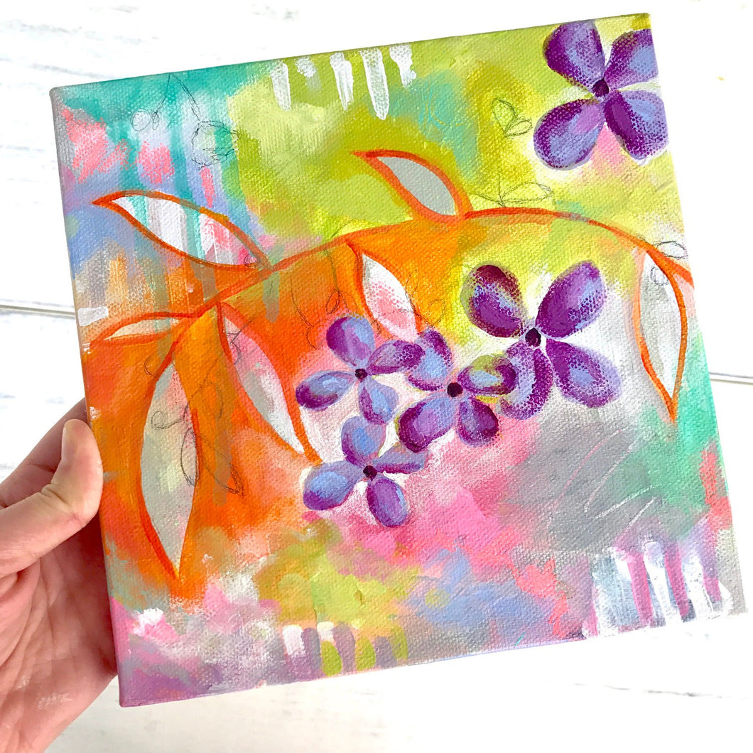 Original Floral Abstract Painting: