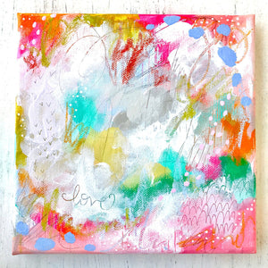 "Mixed Media Original Painting: ""Joyful Love 2"" 8x8 inch canvas - Bethany Joy Art"