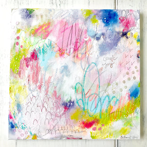 "Abstract Painting / ""Create Joy""/ 12x12 inch Canvas/ Colorful Wall Art/ Mixed Media Painting/ Joyful Art/ Home Decor - Bethany Joy Art"