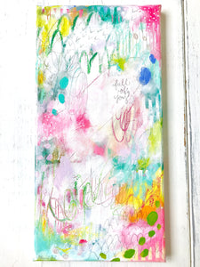 "Abstract Painting/ ""Full of Joy""/ Wall Art/ 8x16 inch Canvas/ Mixed Media/ Joyful Art/ Colorful Home Decor/ Gift for Any Occasion - Bethany Joy Art"