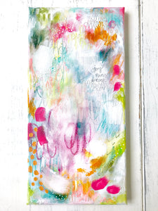 "Abstract Painting/ ""Joy Runs Deeper""/ 8x16 inch canvas/ Joyful Art/ Wall Art/ Colorful Home Decor - Bethany Joy Art"