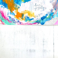 Load image into Gallery viewer, Live Joyfully Original Mixed Media 9x12 inch Painting on Paper / Summer Blues Collection / Colorful Fine Art / Vibrant Home Decor - Bethany Joy Art