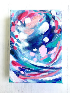 "Abstract ""Summer Blues"" original painting on 5x7 inch canvas / ""It Had to be Blue"" / Vibrant Home Decor / Modern Decor / Blue Inspired Art - Bethany Joy Art"