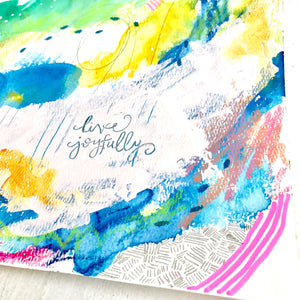 Live Joyfully Original Mixed Media 9x12 inch Painting on Paper / Summer Blues Collection / Colorful Fine Art / Vibrant Home Decor - Bethany Joy Art
