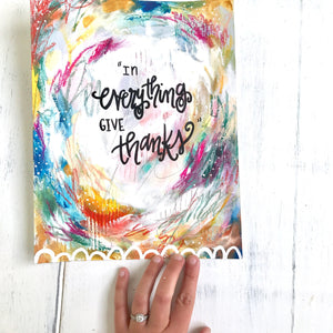 In Everything Give Thanks 8.5x11 inch Art Print / Autumn Inspired Decor / Colorful Fall Art / Thankful Art - Bethany Joy Art