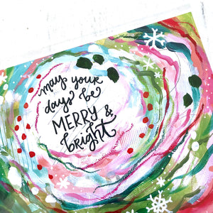 May your days be Merry and Bright / 11 x 8.5 inch inspirational art print / Christmas decorations / Holiday home decor / colorful art gift - Bethany Joy Art