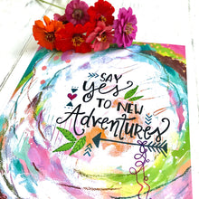 "Load image into Gallery viewer, Inspirational Art Print ""New Adventures"" 8.5x11 inch art print / Colorful home decor / boho home decor / adventure art / gift for adventurer - Bethany Joy Art"