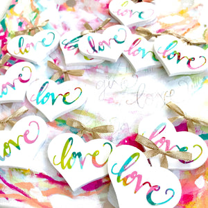 "Hand painted, hand lettered ""Love"" mini wooden heart with gold shimmer ribbon / Collage Heart / Heart Gift / Love art - Bethany Joy Art"