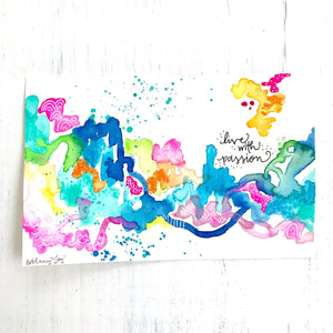 "Mixed media original painting ""live with passion"" on 6x9 inch watercolor paper with white mat to fit 8x10 inch frame / travel inspired paint - Bethany Joy Art"