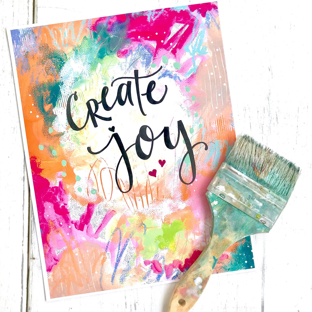 Create Joy 8.5x11 inch art print / gift for creatives / office and studio decor / creative gift / joy filled art / colorful home decor - Bethany Joy Art