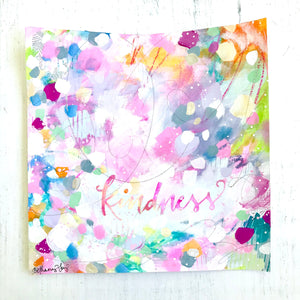 Kindness painting on paper with silver foil accents / 8x8 inch paper original painting / colorful home decor / Kindness art / Be Kind - Bethany Joy Art