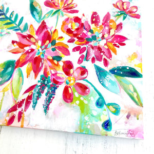 Original colorful floral painting with Gold Accents / Unique, colorful home decor / 12x12 inch original canvas / Happy Art / Funky Flowers - Bethany Joy Art