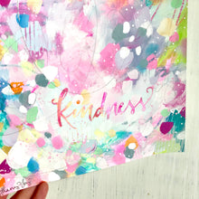Load image into Gallery viewer, Kindness painting on paper with silver foil accents / 8x8 inch paper original painting / colorful home decor / Kindness art / Be Kind - Bethany Joy Art