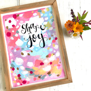 "Framed Original Painting on Wood ""Share Joy"" with Gold Accents 9x12 inches / Colorful and Inspirational Abstract Art / Art for the Home - Bethany Joy Art"