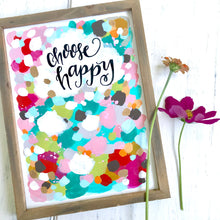 "Load image into Gallery viewer, Framed Original Painting on Wood ""Choose Happy"" with Gold Accents 9x12 inches / Colorful and Inspirational Abstract Art / Art for the Home - Bethany Joy Art"