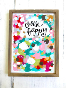 "Framed Original Painting on Wood ""Choose Happy"" with Gold Accents 9x12 inches / Colorful and Inspirational Abstract Art / Art for the Home - Bethany Joy Art"