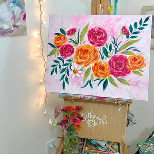 Spring Floral Painting 16x20 inch original painting on canvas with painted sides / acrylic flower painting / spring home decor / floral art - Bethany Joy Art