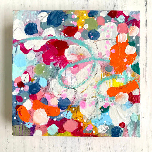 Original Abstract Painting on 6x6 inch Canvas / Acrylic and Pastel /