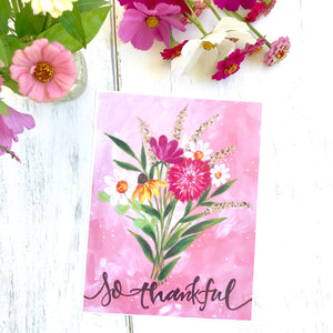 "Fall Inspirational Floral Bouquet ""So Thankful"" 8.5x11 inch Flower Art Print - Bethany Joy Art"