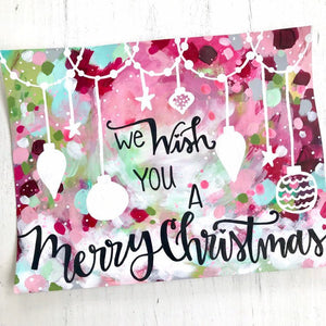 "Christmas Art Print: ""We Wish you a Merry Christmas"" 8.5x11 inch Art Print / Colorful Christmas Wall Decor / Holiday Art / Christmas Gift - Bethany Joy Art"