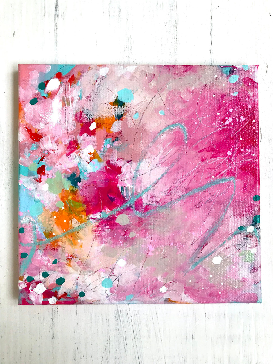 Original Abstract Painting on 10x10 inch Canvas / Acrylic and Pastel /