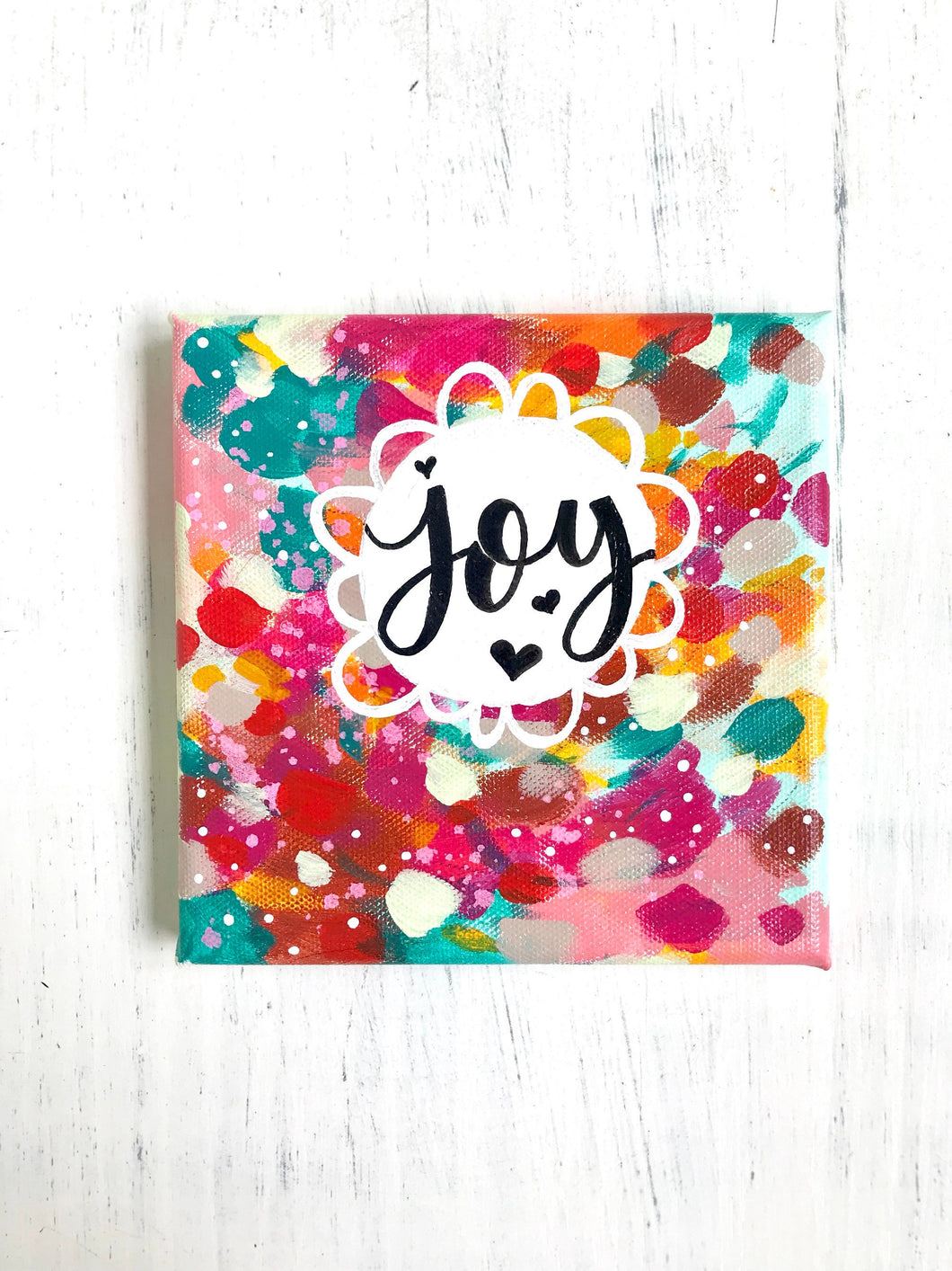 Joy / Vibrant Fall Inspired Original Painting on 6x6 inch Canvas / Bright Autumn Colors / Joyful Art / Thoughtful Gift - Bethany Joy Art