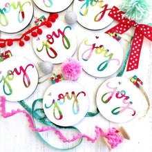 Load image into Gallery viewer, Hand painted wooden Joy ornaments for Christmas - Bethany Joy Art