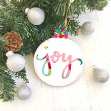 Load image into Gallery viewer, Hand painted wooden ornaments / Joy / Christmas ornaments / Joy Christmas decor / colorful Christmas decorations / Holiday gift for he - Bethany Joy Art