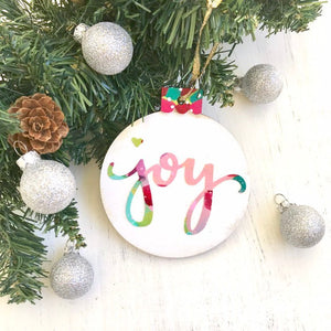Hand painted wooden ornaments / Joy / Christmas ornaments / Joy Christmas decor / colorful Christmas decorations / Holiday gift for he - Bethany Joy Art