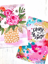 "Load image into Gallery viewer, Inspirational Art Postcards (4x6 inches) pack of two mini prints ""Polka Dot Blooms"" and ""Count your Blessings"" / Colorful Postcards - Bethany Joy Art"