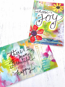 "Inspirational Art Postcards (4x6 inches) pack of two mini prints ""Choose Joy"" and ""Reasons to be Happy"" / Colorful Postcards - Bethany Joy Art"