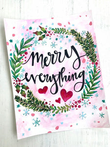"Christmas Art Print: ""Merry Everything"" 5x7 or 8.5x11 inch Art Print / Christmas Wall Decor / Holiday Art / Christmas Gift / Painted Wreath - Bethany Joy Art"