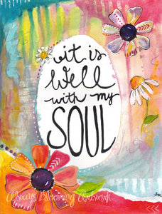 It is Well with my Soul / Inspirational Art Print (8.5x11 inch) / Hymn Wall Art / Bible Verse Art / Gift for Her - Bethany Joy Art