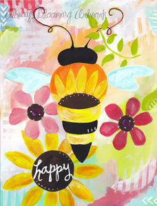 Bee Happy Art / Bee Art Print (8.5x11 inch) / Bees / Bee Decor / Bumble Bee Wall Art - Bethany Joy Art