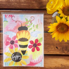 Load image into Gallery viewer, Bee Happy Art / Bee Art Print (8.5x11 inch) / Bees / Bee Decor / Bumble Bee Wall Art - Bethany Joy Art