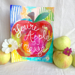 "Teacher Gift / Art Print: ""Apple of my Eye"" / Apple Themed Art / Food Art / Kitchen Decor / Food Sayings - Bethany Joy Art"