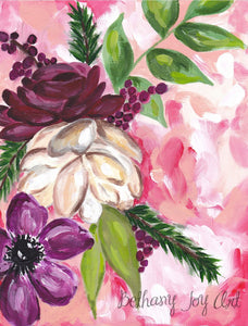 "Floral Art Print - ""Winter Floral"" 8.5x11 inch Art Print - Bethany Joy Art"