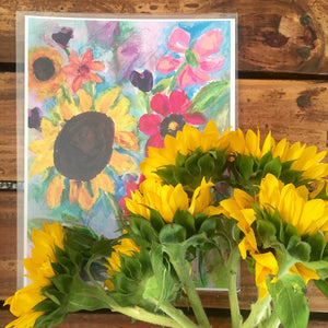 "Floral Art - ""Sunflower Bouquet"" - 8.5x11 Print - Bethany Joy Art"