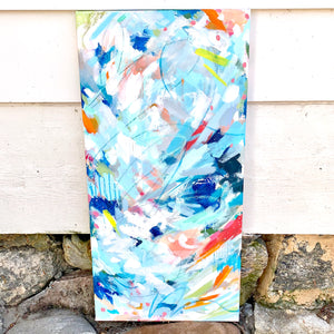 "Abstract Original Painting ""Perfect Beach Day"" 12x24 inch Canvas - Bethany Joy Art"