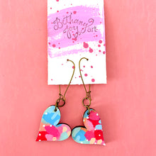 Load image into Gallery viewer, Colorful, Hand Painted, Heart Shaped Earrings 20
