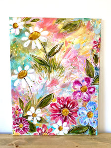 """Consider How the Wildflowers Grow 2"" Floral Original Painting on 24x20 inch canvas - Bethany Joy Art"