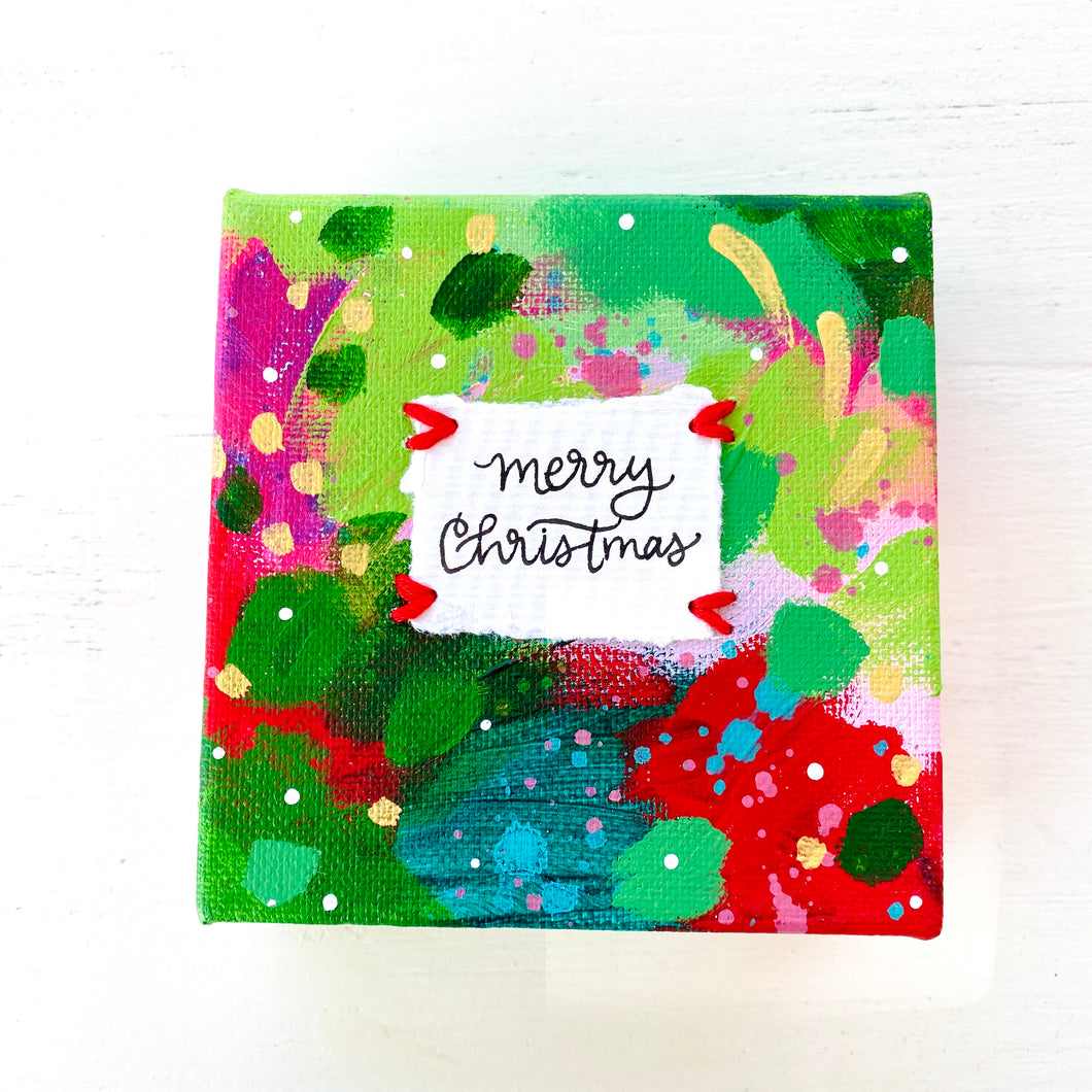 Merry Christmas-1 4x4 inch original abstract canvas with embroidery thread accents