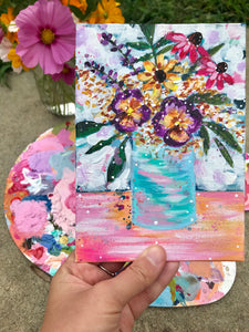 "August Daily Painting Day 30 ""Meet Me for Brunch"" 5x7 inch Floral Original - Bethany Joy Art"