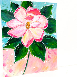 February Flowers Day 10 Magnolia 8.5x11 inch original painting