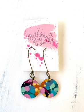 Colorful, Hand Painted Earrings 126