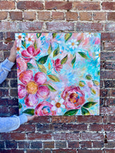 "Load image into Gallery viewer, ""Choose to Bloom"" Floral Original Painting on 24x24 inch canvas - Bethany Joy Art"