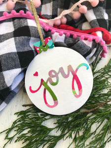 Hand painted wooden Joy ornaments for Christmas - Bethany Joy Art