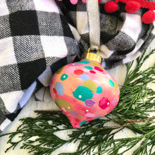 "Load image into Gallery viewer, Hand Painted Ceramic Ornament ""Joy 2"" Pink Multi-Color"