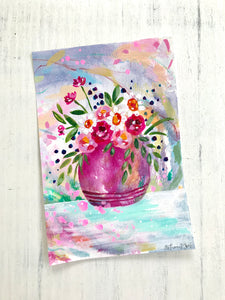 Mixed Media Floral Bouquet 1 on 6x9 inch paper - Bethany Joy Art