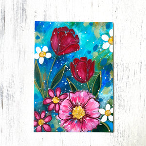 "January Daily Painting Day 15 ""Love's Truest Language"" 5x7 inch Floral Original - Bethany Joy Art"